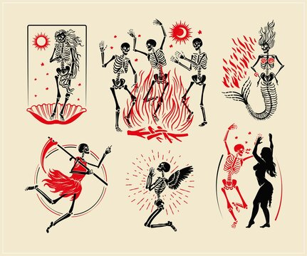 Skeletons Logos Collection For T-shirt and Denim. Skeletons Dance, the skeleton of the Venus, the Mermaid, the Angel, and the Angel of Death. Vector Illustration.