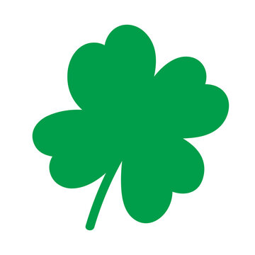 Shamrock vector logo, St. Patricks Day clipart. Green irish symbol element isolated on white background.