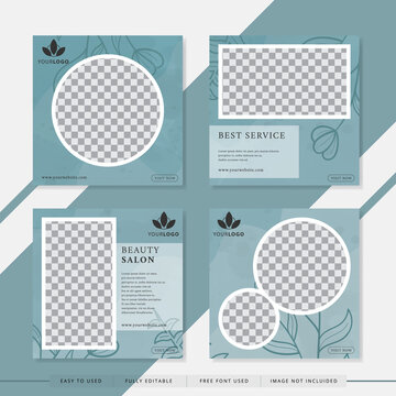 Suitable for beauty salon social media post and web. Vector illustration with photo college. Set modern square editable banner template.