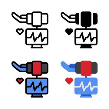 Hearth Rhythm Monitor Electro Cardio Graph Icon, and illustration Vector