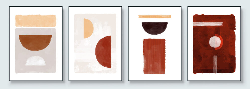 Mid-Century Modern Design. Aesthetic watercolor. A trendy set of Abstract Orange Hand Painted Illustrations for Postcard, Social Media Banner, Brochure Cover Design or Wall Decoration Background.