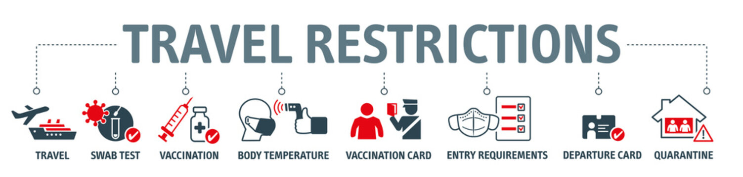 travel restrictions - travelling during corona virus epidemic - vector illustration concept on white background