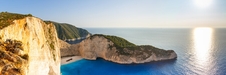 Zakynthos island Greece shipwreck Navagio beach travel vacation panoramic view
