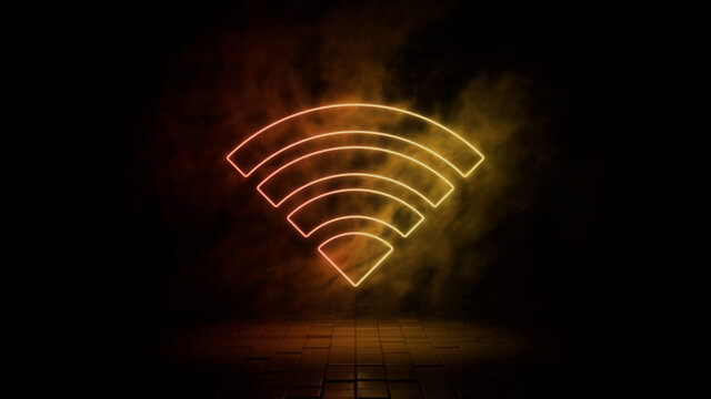 Orange and yellow neon light wifi icon. Vibrant colored technology symbol, isolated on a black background. 3D Render