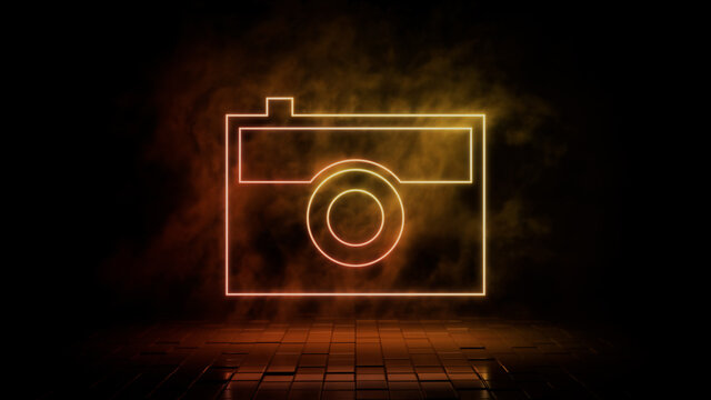Orange and yellow neon light camera icon. Vibrant colored technology symbol, isolated on a black background. 3D Render