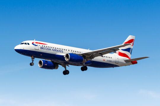British Airways Airbus A320 airplane London Heathrow Airport in the United Kingdom