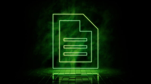 Green neon light document icon. Vibrant colored technology symbol, isolated on a black background. 3D Render