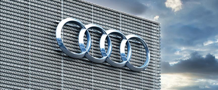 Koblenz, Germany, 2021: Audi emblem on a building in Koblenz.