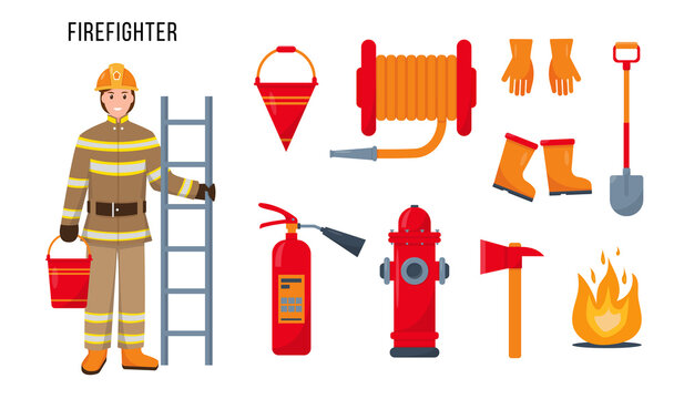 Firefighter character and tools for his work.