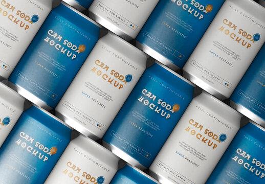Soda Can Arrangement Mockup