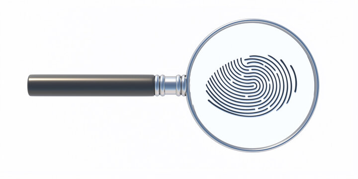 Fingerprint and magnifier isolated on white background. Human thumbprint, detective search concept. 3D illustration