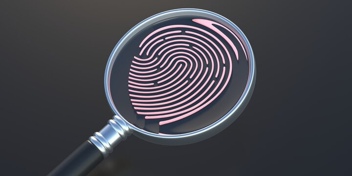 Fingerprint and magnifier on black background. Human thumbprint, detective search concept. 3D illustration
