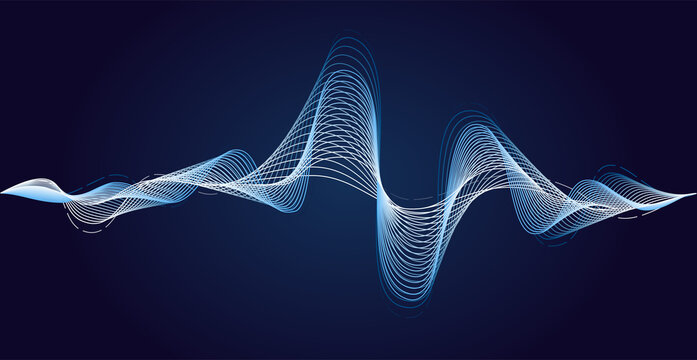 Blue soundwave. Earthquake impulse. Vibration waves sound. Minimal energy waves. Dynamic curve. Vector illustration abstract design.