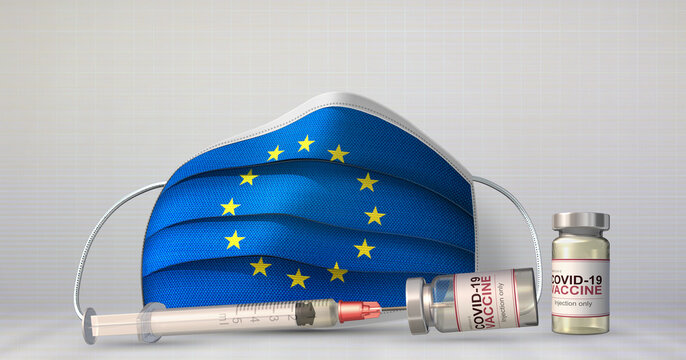 A syringe, vials of COVID-19 vaccine and a medical face mask with the flag of the European Union printed on the front side. 3D illustration
