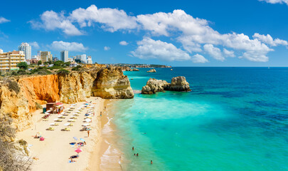 Wall Mural - Landscape with Praia dos Careanos, famous beach in Algarve, Portugal