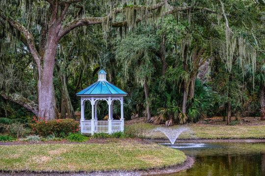 Oak Tree Gazebo and Fountain under spanish moss
