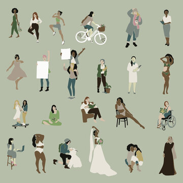 Female vector clipart collection. Illustration of women of different professions, ethnicity, age. Diversity body-positive feminist set for women's day cards, presentations, stickers, posters, web