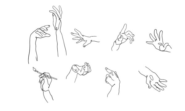 Hand gestures. Vector set of line art hands. Modern trendy illustration of hands for clipart, presentations, cards, stickers. Abstract aesthetic collection of hands pointing in different directions.