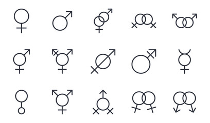 Fototapeta Vector gender identity icons. Editable stroke. Set signs female male mercury androgyne gay lesbian heterosexuality, transgender intersex hermaphrodite assexuality sexless genderless engaged betrothed
