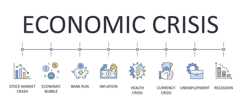 Vector banner infographics economic crisis. Editable stroke. Line icons stock market crash health unemployment recession economic bubble bank run inflation currency crisis