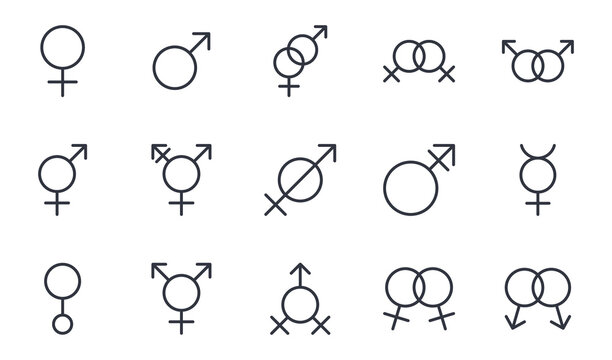 Vector gender identity icons. Editable stroke. Set signs female male mercury androgyne gay lesbian heterosexuality, transgender intersex hermaphrodite assexuality sexless genderless engaged betrothed