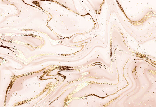 Liquid abstract marble painting background design with gold waves and glitter dust.