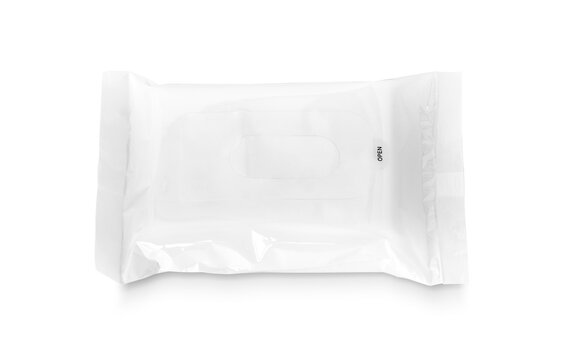 blank packaging white plastic pouch for wet wipes paper design mock-up