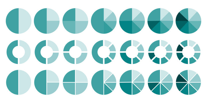 Flat infographic. Flat illustration with pie chart circles. Pie chart circles, great design for any purposes. Stock image. EPS 10.