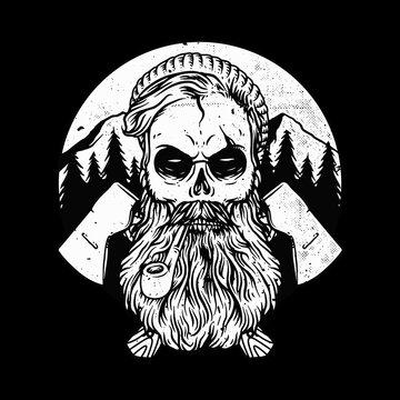Woodman skull horror graphic illustration vector art t-shirt design