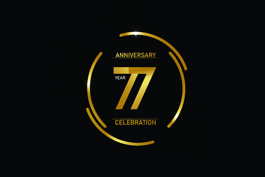 77 year anniversary celebration logotype. anniversary logo with circle golden and Spark light white color isolated on black background - vector