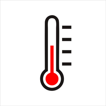 Temperature icon in flat style. Good weather symbol isolated on white background. Thermometer icon in Hot and warm weather concept. Vector illustration for graphic design, Web, applications.