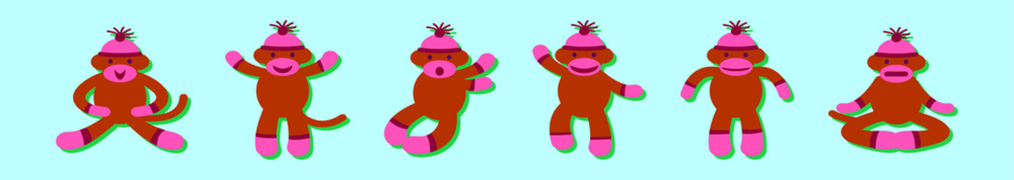 set of sock monkey cartoon icon design template with various models. vector illustration isolated on blue background