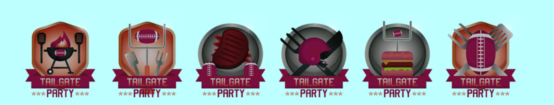 set of tailgate logo cartoon icon design template with various models. vector illustration isolated on blue background