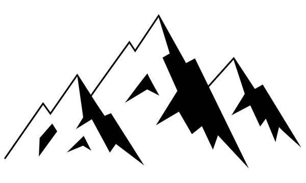 Hand drawn vector illustration of mountain landscape. Hight mountain peaks logo, symbol, line sketch icon isolated on white background. The concept of alpinism, climbing, conquering peaks.