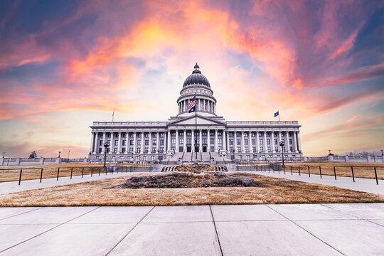 Sunset at Capitol Hill in Salt Lake City Utah