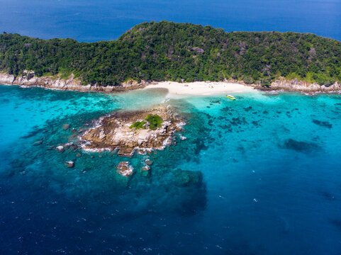 Aerial view of Racha Noi Island in Phuket Thailand in summer.