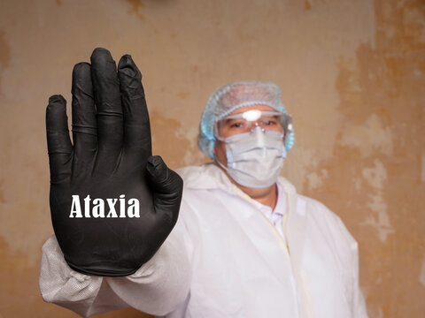 Medical concept meaning Ataxia with inscription on the piece of paper.