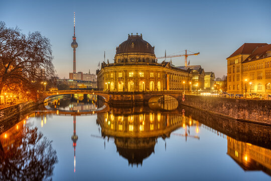 The Bode Museum and the Television Tower in Berlin on a clear sky morning