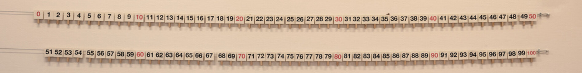 Numbers from 1 - 100 on the school wall