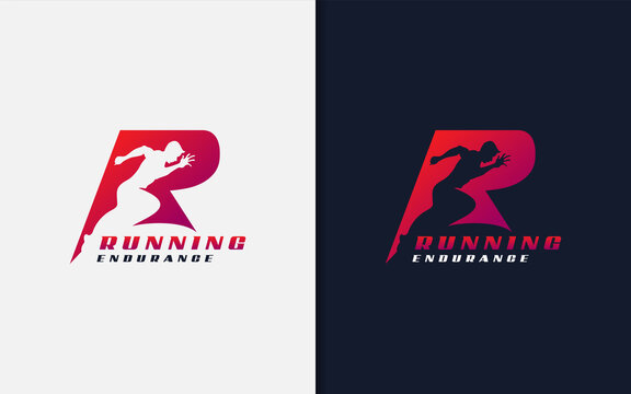 Running Endurance Logo Design. Abstract Initial R Logo with Running Man Silhouette. Sport Logo Vector Illustration.