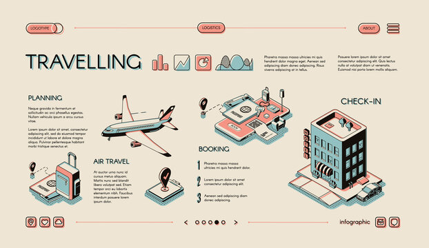 Traveling services isometric vector infographics