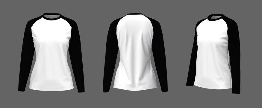 Long-sleeves raglan t-shirt mockup, 3d illustration, 3d rendering