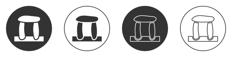 Black Stonehenge icon isolated on white background. Circle button. Vector.