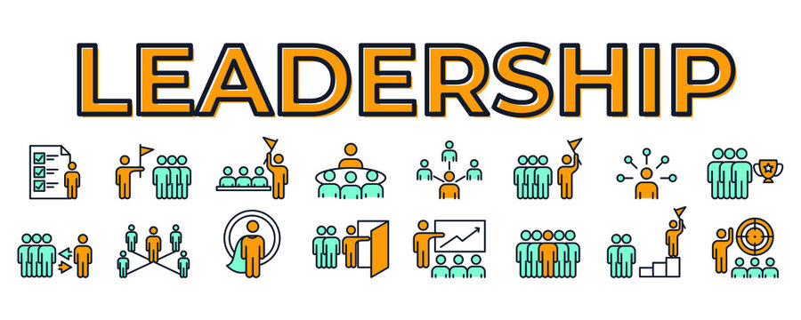 set icon leadership traits. Development and Teamwork pack symbol template for graphic and web design collection logo vector illustration