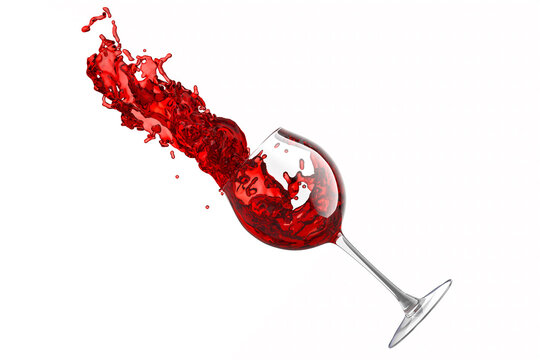 Glass with red wine and splashes of fluid isolated on white background.