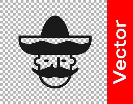 Black Mexican man wearing sombrero icon isolated on transparent background. Hispanic man with a mustache. Vector.