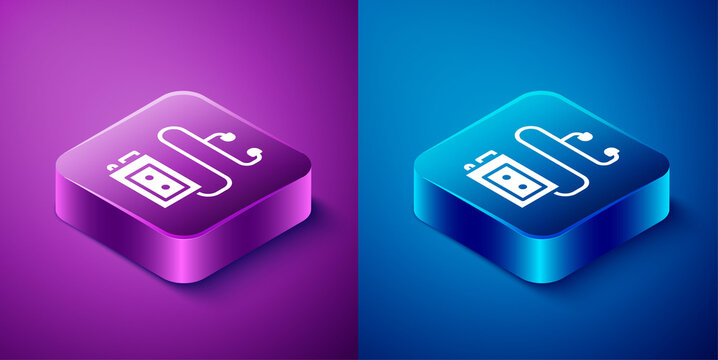 Isometric Museum audio guide icon isolated on blue and purple background. Headphones for excursions. Square button. Vector.