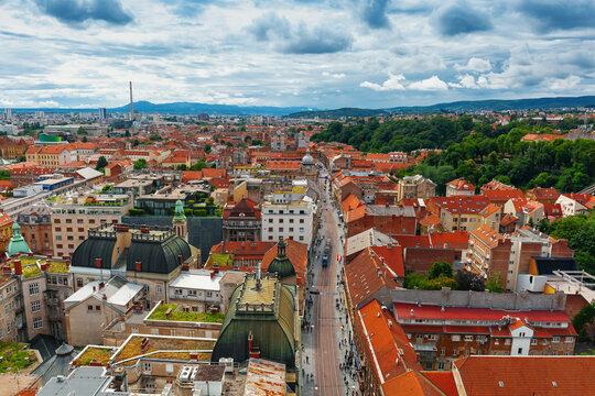 bird's-eye view of Zagreb, Croatia.