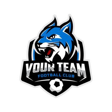 Lynx mascot for a football team logo. Vector illustration.