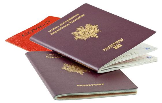 passeports sanitaires covid-19, fond blanc